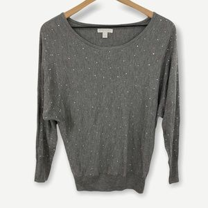 New York & Co Gray Sweater Crystal Front